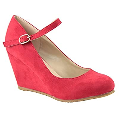 Bella Marie Denise-1 Women's round toe wedge heel mary jane squeaky strap suede shoes