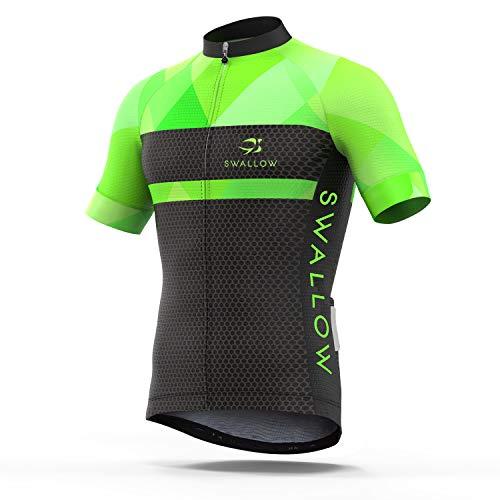 (Swallow Men Cycling Jersey Bike Shirts Cycling Shirt with Full Zip for Biker Green Medium)