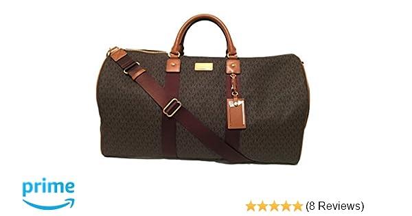 Amazon.com  Michael Kors Michael Kors Leather Travel Logo Duffle Large Bag  Printed Duffel Luggage  Dazigno f8c2fce2021b2