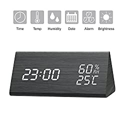 Alarm Clock, LED Digital Clock with White Backlight Digit, 3 Levels Brightness, 3 Groups of Alarm Time, Wooden Alarm Clock Display Date, Temperature and Humidity