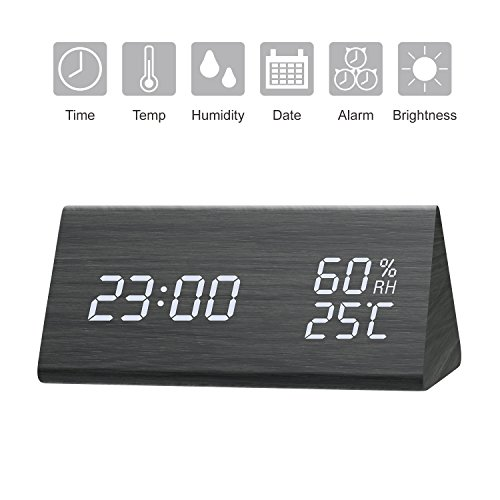 Digital Alarm Clock, Wooden LED Alarm Clock with Triple Alarms, 3 Levels Brightness Dimmer, Big Digit Display Date, Temperature and Humidity for Home Bedrooms