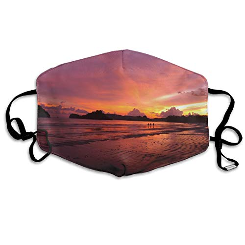 MINGYING Beach Landscape Sea Coast Water Sand Ocean Horizon Cloud Sky Sunset Morning Anti Dust Breathable Face Mouth Mask for Man Woman
