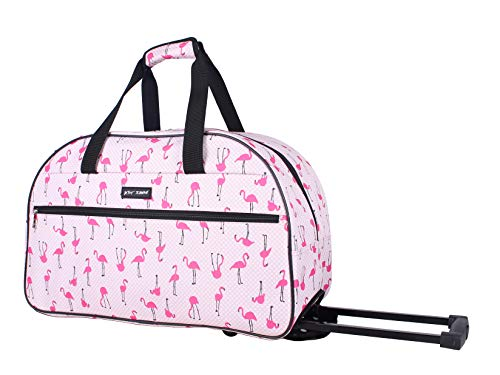 (Betsey Johnson Luggage Designer Pattern Suitcase Wheeled Duffel Carry On Bag (Paris Love) (One Size, Flamingo Strut))