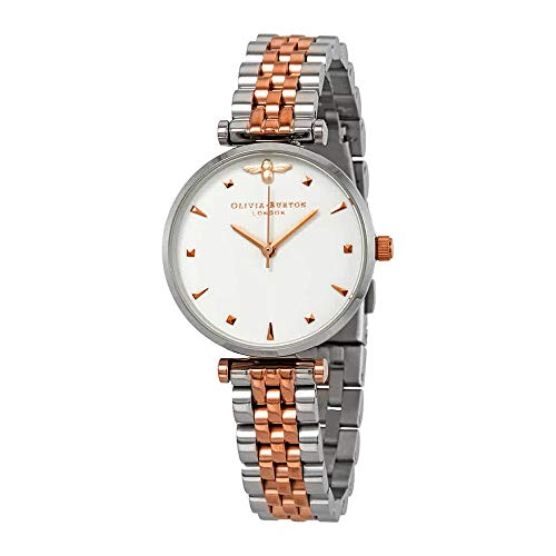 Olivia Burton Queen Bee White Dial Two-Tone Ladies Watch OB16AM93 (Ladies Two Tone White Dial)