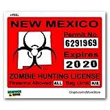 New Mexico NM Zombie Hunting License Permit Red - Biohazard Response Team - Window Bumper Locker Sticker