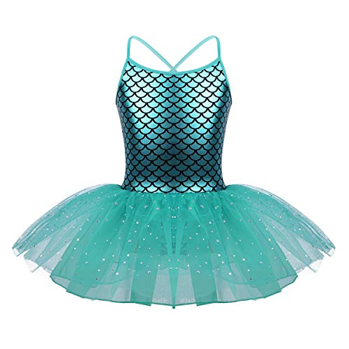 iiniim Kids Girls Shiny Sparkle Mermaid Fish Scales Leotard Tutu Dress Dancing Costume Birthday Party Cosplay Fancy Dress Up Lake Blue 4-5 ()