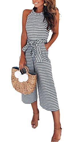 - MarcoJudy Women Sleeveless Striped Waist Belted Wide Leg Capri Pants Jumpsuit (Large, Grey)