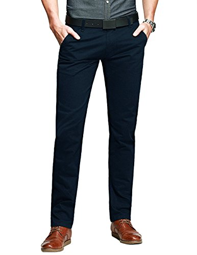 Formal Clothing - Match Mens Slim-Tapered Flat-Front Casual Pants(Light Sapphire Blue,30)