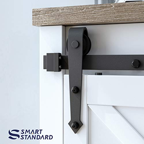 6ft Double Door Cabinet Barn Door Hardware Kit- Mini Sliding Door Hardware - for Cabinet TV Stand - Simple and Easy to Install - Fit 24'' Wide Door Panel (No Cabinet) (Mini Arrow Shape Hangers) by SMARTSTANDARD (Image #3)