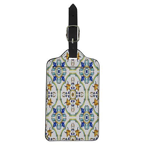Semtomn Luggage Tag Watercolor Pattern on Italian Tiles Majolica Cyan Outline Blue Suitcase Baggage Label Travel Tag Labels