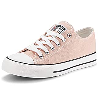 JENN ARDOR Women's Canvas Shoes Casual Sneakers Low Top Lace Up Fashion Comfortable Walking Flats Pink 7 US