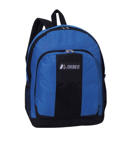 Everest BP2072 Backpack w/Front and Dual Side Mesh Pockets (Price/Each), Everest Backpack – Royal Blue/Black, Outdoor Stuffs