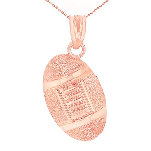 10k Gold Football Pendant Necklace (20, (10k Gold Football Pendant)