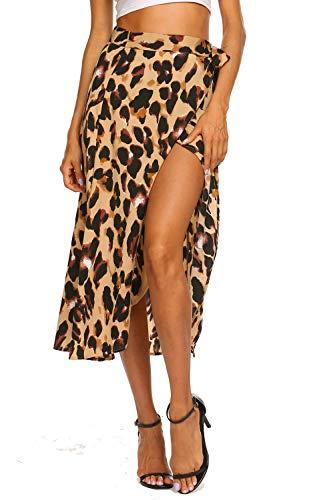 Newchoice Midi Skirts for Women Summer Leopard Print Front Slit Wrap High Low Skirt (L,Leopard Yellow) - Leopard Print Womens Skirt