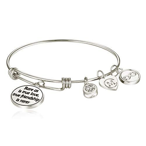 (Charmire Inspirational Bangle Bracelet Womens Jewelry Gifts (Rare as is True Love, True Friendship is Rarer.-White Gold))