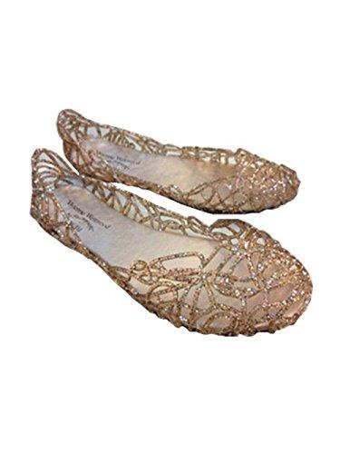 - Global tesco Womens Crystal Glitter Plastic Jelly Hollowed Flat Sandals Beach Pumps Shoes Golden 6.5 B(M) US