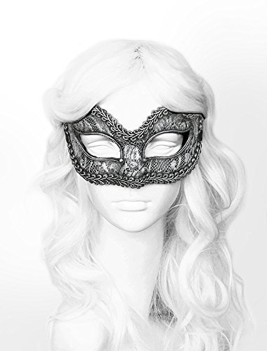 Handpainted Aged Silver Masquerade Mask In Steampunk Look