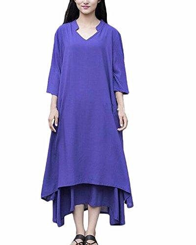 ZANZEA Mujer Vestido Suelto Largo De Lino Vendimia Cuello V flojo Irregular Algodón Azul