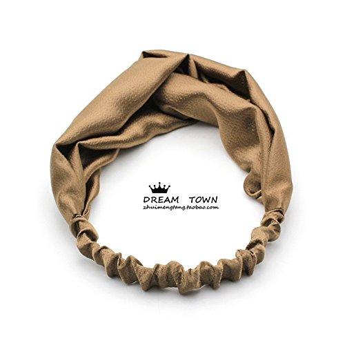 usongs Custom high-end hand-tailored silk elegant pearl stretch satin headband cross headband (Tailored Scarf)