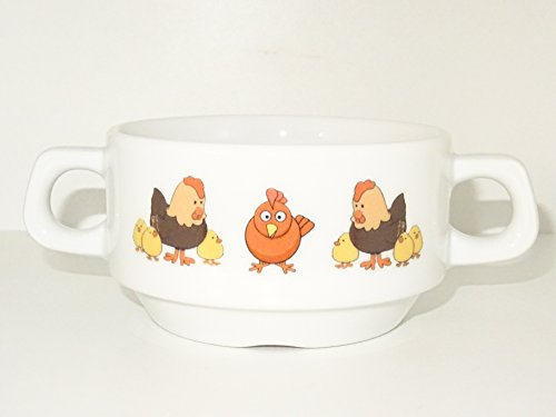 Soup Bowl, 1 pcs,Chicken Soup Bowl Small Baby Child Kids, Bottom, Animal,Bird, Cartoon, Cute Animals, Farm, Kids, Porcelain by topmug