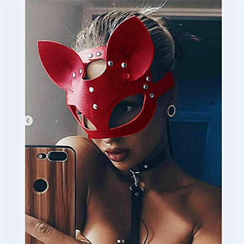 WEIZHUANGZHE Catwoman Half Mask Cosplay Sexy Costume Props Latex Adult PVC SM Mask Adult -