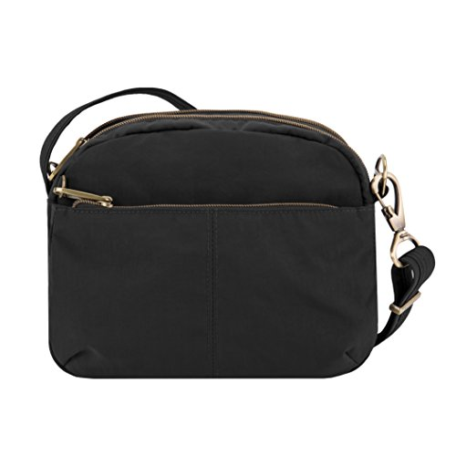Travelon Anti-theft Signature E/W Shoulder Bag, Black (Travelon Anti Theft Signature 3 Compartment Crossbody Black)