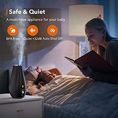 1.8L Quiet and Small Ult TaoTronics Cool Mist Humidifiers for Babies BPA Free