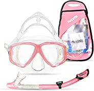 PRODIVE Premium Dry Top Snorkel Set - Impact Resistant Tempered Glass Diving Mask Watertight and Anti-Fog Lens