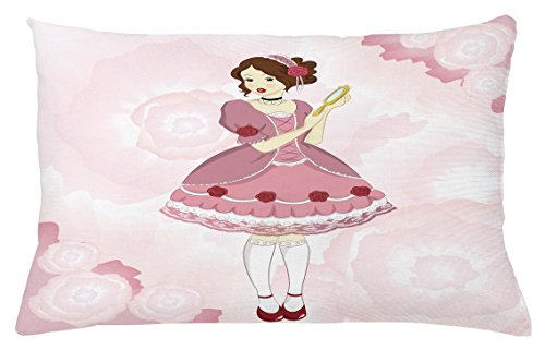 Lunarable Vintage Throw Pillow Cushion Cover, Girl in a Victorian Dress Holding a Mirror on Pastel Colored Background with Roses, Decorative Square Accent Pillow Case, 26 X 16 Inches, Multicolor (Victorian Rose Mirror)