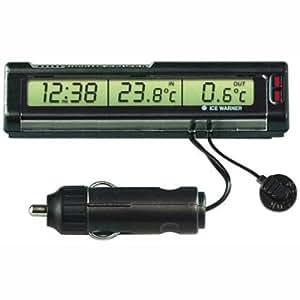 Lampa 86313 Termo-Tris - Termómetro doble con reloj para medición de temperatura interior y exterior (12V), color negro