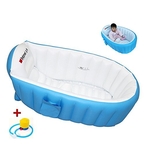ble Bathtub Children Anti-slippery Swimming Pool Foldable Travel Air Shower Basin Seat Baths Big Size(For 0-3 Years) + air pump (Inflatable Bath Seat)
