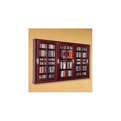 Leslie Dame MS-525DC Wall Mounted Sliding Door Mission Style Media Storage Cabinet, Dark Cherry