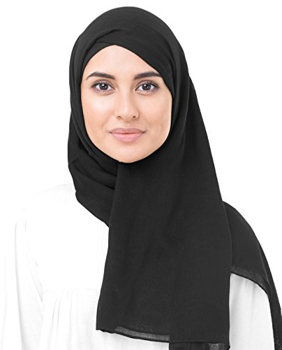 InEssence Jet Black Viscose Woven Scarf Women Girls Wrap Large Size Hijab by InEssence