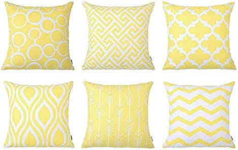 HAPPIShare 6PC/Set Home Decorative Pillowcase Cotton Linen Sofa Cushion Throw Pillow Coverr 18 x 18 Inch