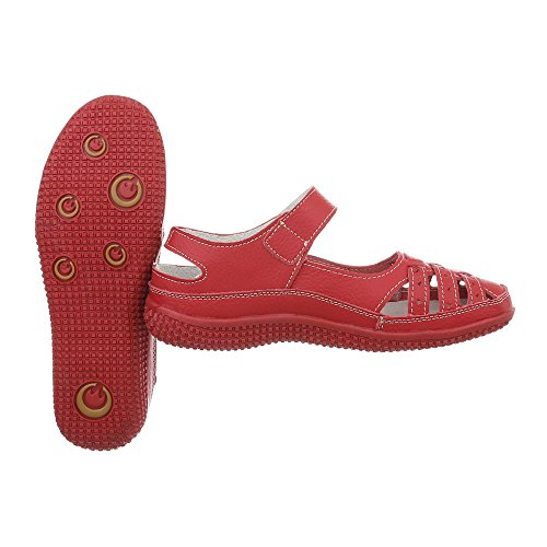 Leder Rot Klettverschluß Schuhe Sandalen Damen B7wqavx
