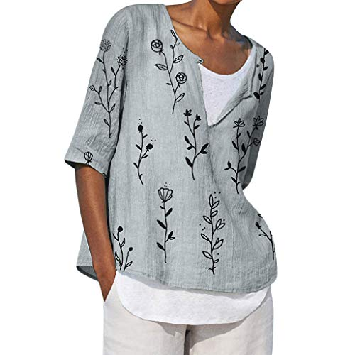 Tantisy ♣↭♣ Women's Plus Size Cotton Linen Half Sleeve Blouse Summer Spring Casual Print Loose Fit Ladies T Shirt -