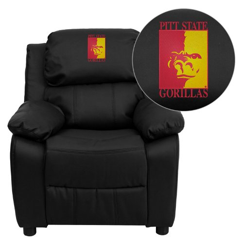 Flash Furniture Pittsburg State University Gorillas Embroidered Black Leather Kids Recliner with Storage Arms ()