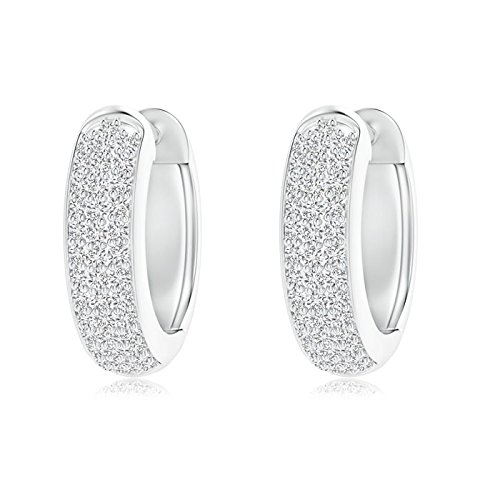 Angara Triple-Row Diamond Studded Huggie Hoop Earrings in Platinum WsYXXTBh7v