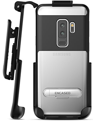 Samsung Galaxy S9 Plus Belt Clip Clear Case With Holster, Encased [Reveal Series] Slim Fit Transparent Cover with Metallic Outer Frame and Kickstand for Samsung Galaxy S9+ (2018 Release) Crystal Black