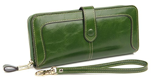 411%2B%2B3S4NSL - Anvesino Women's RFID Blocking Real Leather Wallet Ladies Zipper Wristlet Clutch Green