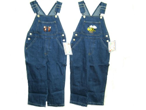 Toddler Girls Cotton Denim Embroidery Bib Pocket Overall