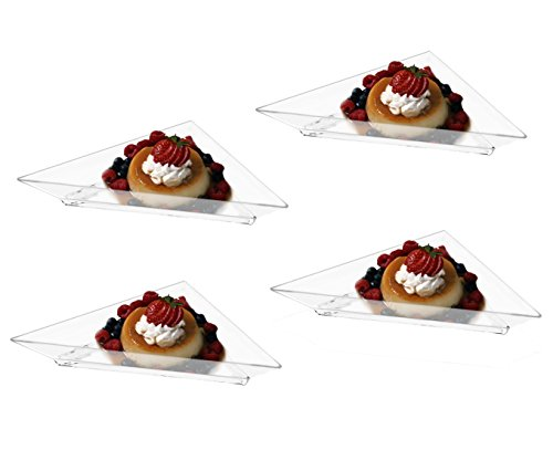Mini Clear Plastic Triangle Dessert Appetizer Plates. Pack Includes 96 Tasting Sampling Hors D'oeuvres Disposable Dishes. (Plates Plastic Triangle)