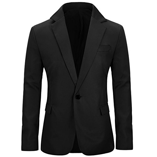 Men's Slim Fit Casual One Button Notched Lapel Blazer Jacket (Black, L)