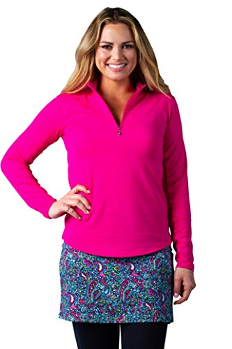 (SanSoleil Women's SolTek Ice UV50 Long Sleeve Zip Mock Top X-Small Fiesta Pink)