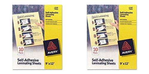 Avery Self-Adhesive Laminating Sheets - Clear - AVE73603, 2 Packs (Clear Self Adhesive Laminating Sheets)
