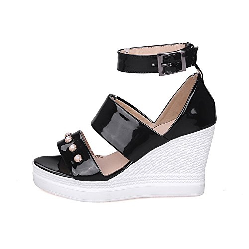 Womens Open Platforms Solid Wedges Buckle Heels PU High with Toe Black amp; AmoonyFashion Rhinestones dBqYw4Ad
