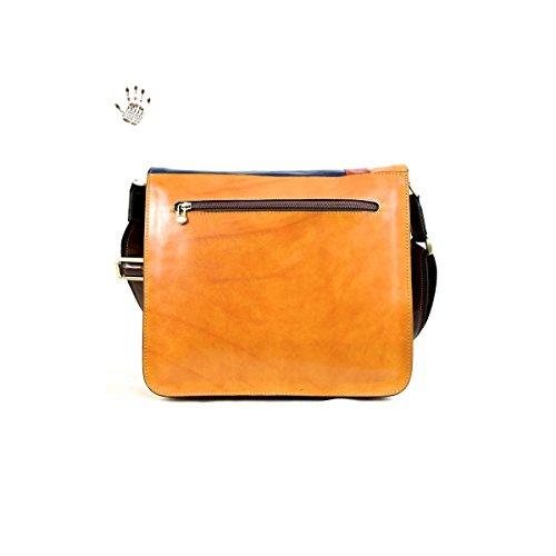Bolso Messenger En Piel De Curtido Vegetal Con 2 Compartimentos Color Multicolor - Peleteria Echa En Italia - Linea Prestige