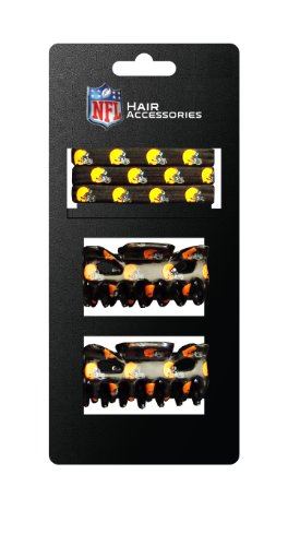 NFL Cleveland Browns Hair Accessory 2-Hair Clips and 3-Elastic Ponytail Bands