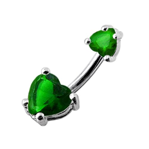 Emerald Green Big and Small Heart CZ Stone 925 Sterling Silver Double Side Belly Button Ring Jewelry - Emerald Belly Button Ring
