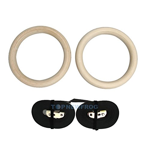 Shalleen Wood Gymnastic Olympic Gym Rings Adjustable with Buckle Straps Strength Training